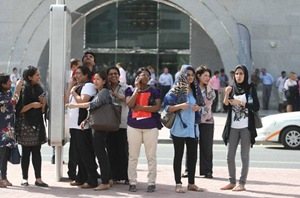 Employees from the buildings in Tecom area in Dubai were evacuated soon after the tremors were felt - gulfnews